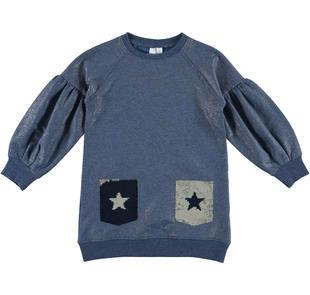 Delizioso abito in felpa stretch con tasche di paillettes ido BLU-ARGENTO-6X36