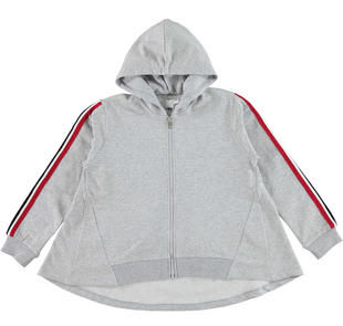 Moderna felpa con zip e cappuccio ido GRIGIO MELANGE-8992