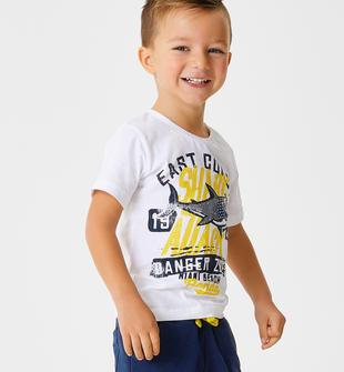 T-shirt 100% cotone stampa coccodrillo o squalo ido BIANCO-0113