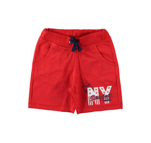 Pantalone corto in cotone con stampa ido ROSSO-2256