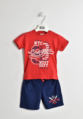 Completo t-shirt sportiva e pantaloncino ido ROSSO-BLU-8010