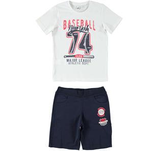 Sportivo e fresco completo t-shirt e pantalone corto ido BIANCO-BLU-8020