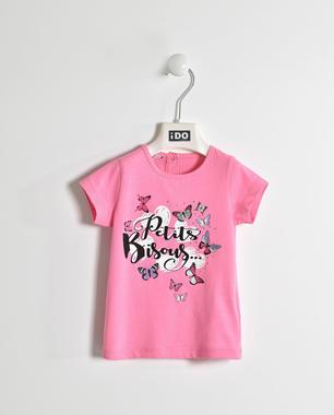 Graziosa t-shirt 100% cotone con strass e glitter ido ROSA BUBBLE-2421