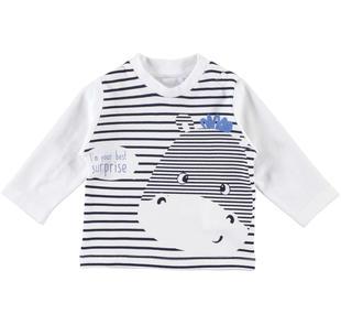 Maglietta girocollo 100% cotone con stampe diverse ido BIANCO-BLU-8020