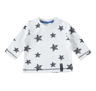 Maglietta girocollo 100% cotone con stelle ido BIANCO-BLU-8020
