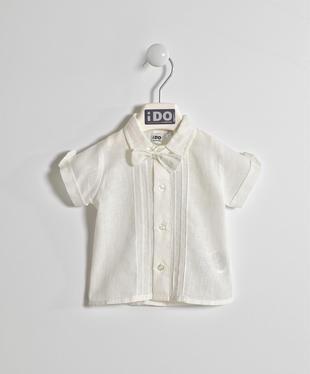 Elegante camicia a manica corta misto lino ido PANNA-0112