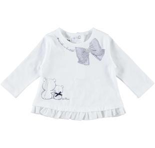 Maglietta girocollo 100% cotone con orsetti ido BIANCO-BLU-8020