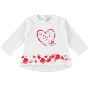 Maglietta girocollo 100% cotone con cuori ido BIANCO-0113