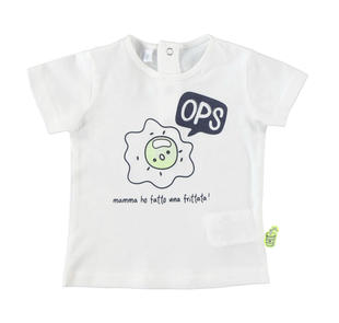 T-shirt 100% cotone con dolce stampa modello unisex ido PANNA-VERDE FLUO-8405