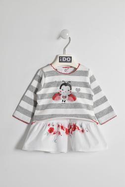 Vestitino con coccinella 100% cotone ido GRIGIO-ROSSO-8016