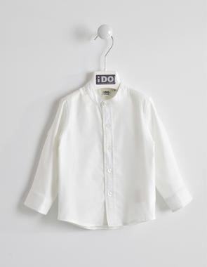 Camicia in piquet di cotone collo alla coreana ido BIANCO-0113