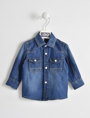 Camicia effetto denim 100% cotone ido STONE WASHED-7450