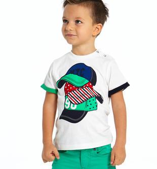 T-shirt 100% cotone con colorata stampa ido BIANCO-0113