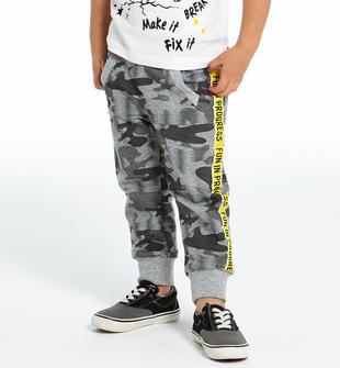 Pantalone in felpa non garzata camouflage ido GRIGIO-NERO-6FU8