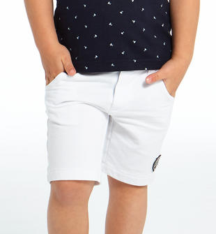 Pantalone corto 100% cotone con badge ido BIANCO-0113