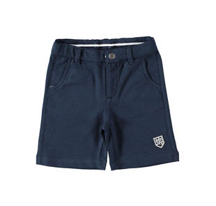 Pantalone corto 100% cotone con badge ido NAVY-3885