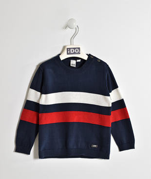 Maglia in tricot 100% cotone a bande ido BLU-BIANCO-8004