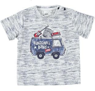 T-shirt 100% cotone band musicale ido BIANCO-BLU-6FV5