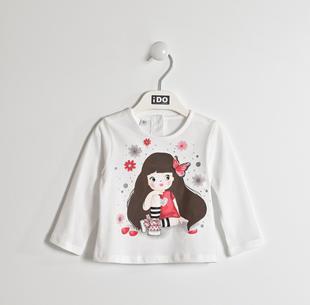 Maglietta 100% cotone con dolce stampa ido BIANCO-0113