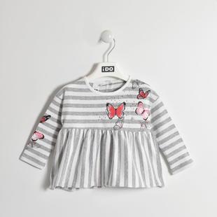 Maglietta fantasia rigata con farfalle ido GRIGIO MELANGE-8992