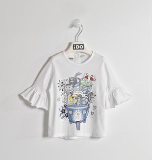 Maglietta 100% cotone con maniche con balza ido BIANCO-0113