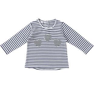 Maglietta girocollo a righe con cuori ido NAVY-3854
