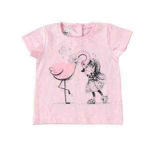T-shirt con bambina e fenicottero ido LT.PINK-2732