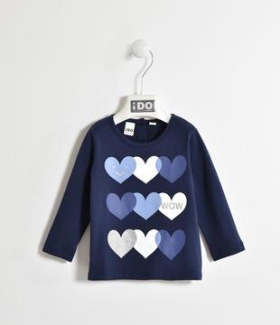 Maglietta 100% cotone con cuori ido NAVY-3854