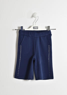 Pantalone modello cropped con bande di strass ido NAVY-3854