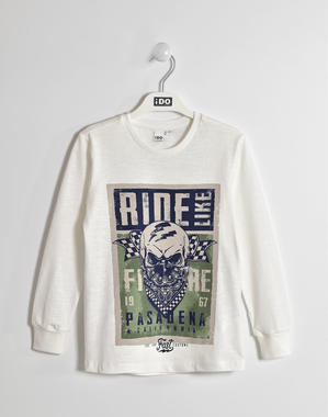 Maglietta girocollo in jersey fiammato ido PANNA-0112