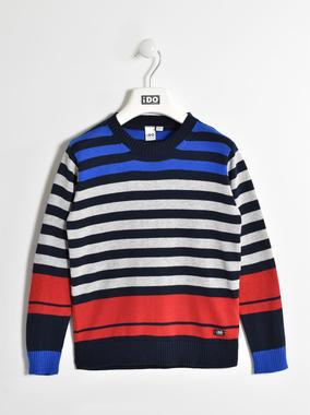 Maglia girocollo in tricot 100% cotone con fantasia rigata ido NAVY-3885
