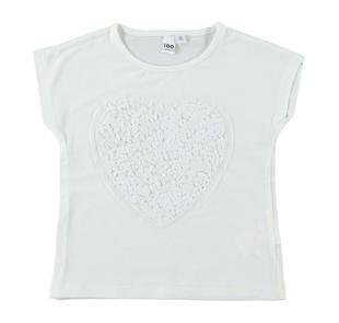 T-shirt in cotone elasticizzato con cuore di paillettes ido PANNA-0112