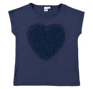 T-shirt in cotone elasticizzato con cuore di paillettes ido NAVY-3854