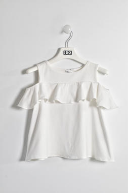 Top con rouche in jersey stretch ido BIANCO-0113