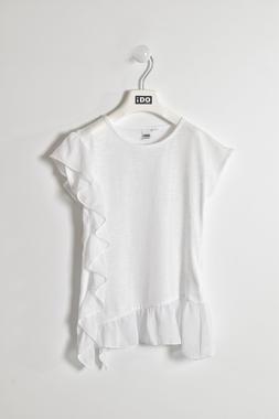 Elegante t-shirt 100% cotone con balza e rouches ido BIANCO-0113