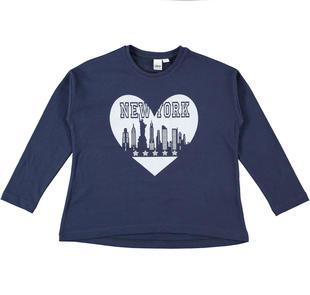 Maglietta girocollo 100% cotone con cuore New York ido NAVY-3854