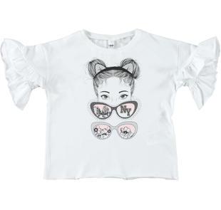 T-shirt 100% cotone con manica con rouches ido BIANCO-0113