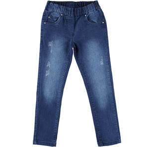 Pantalone in denim con tasche per bambina ido STONE WASHED-7450