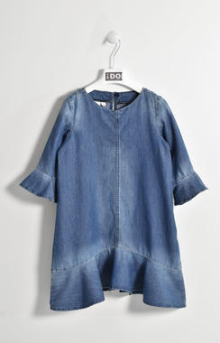 Abito in denim con balze 100% cotone ido STONE WASHED-7450