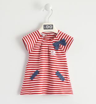 Vestitino fantasia rigata con pesciolino ido ROSSO-2256