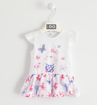 Vestitino con tenera stampa e gonna floreale ido BIANCO-ROSA-8002