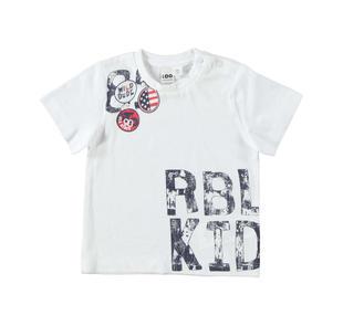 T-shirt 100% cotone con grintosa stampa ido BIANCO-0113