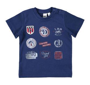 T-shirt 100% cotone con badge e stampe ispirate allo sport ido NAVY-3547