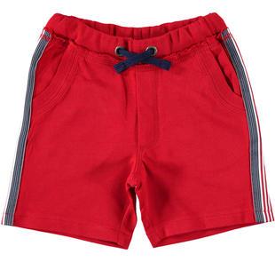Pantalone corto in felpa 100% cotone con bande rigate ido ROSSO-2267