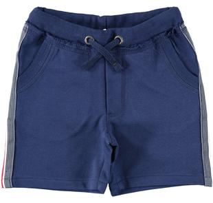 Pantalone corto in felpa 100% cotone con bande rigate ido NAVY-3547