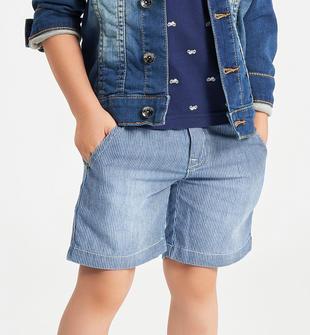 Pantalone corto a righe 100% cotone ido STONE WASHED CHIARO-7400