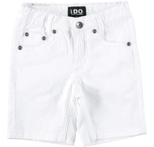 Pantalone corto in twill stretch ido BIANCO-0113