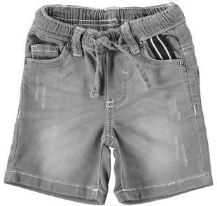 Pantalone corto in felpa effetto denim ido GRIGIO CHIARO-7992