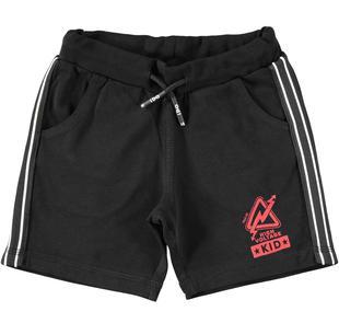 Sportivo pantalone corto in jersey con bande laterali ido NERO-0658