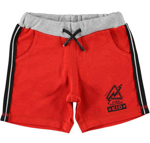 Sportivo pantalone corto in jersey con bande laterali ido ROSSO-2256